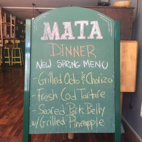 Mata Bar Menu
